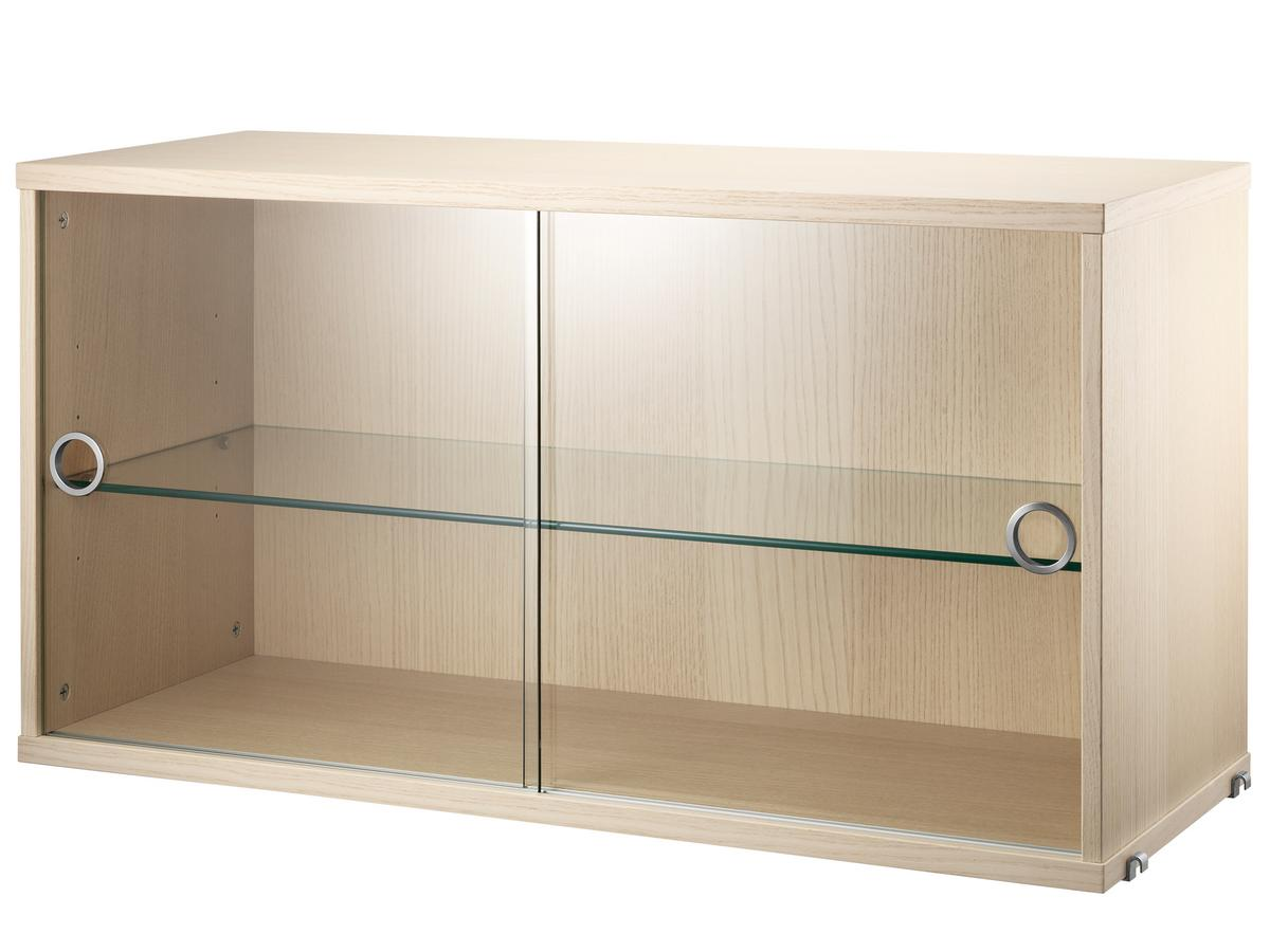 String system display cabinet with sliding glass doors ash veneer