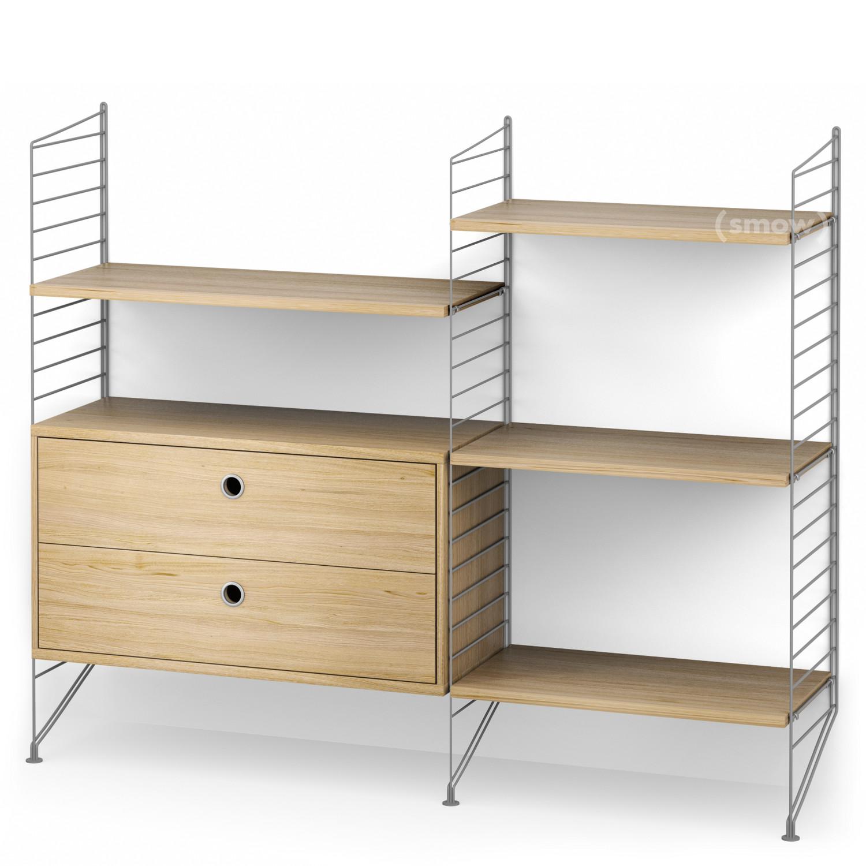 String System Floor Shelf With Drawers Grey Oak Veneer By Nisse