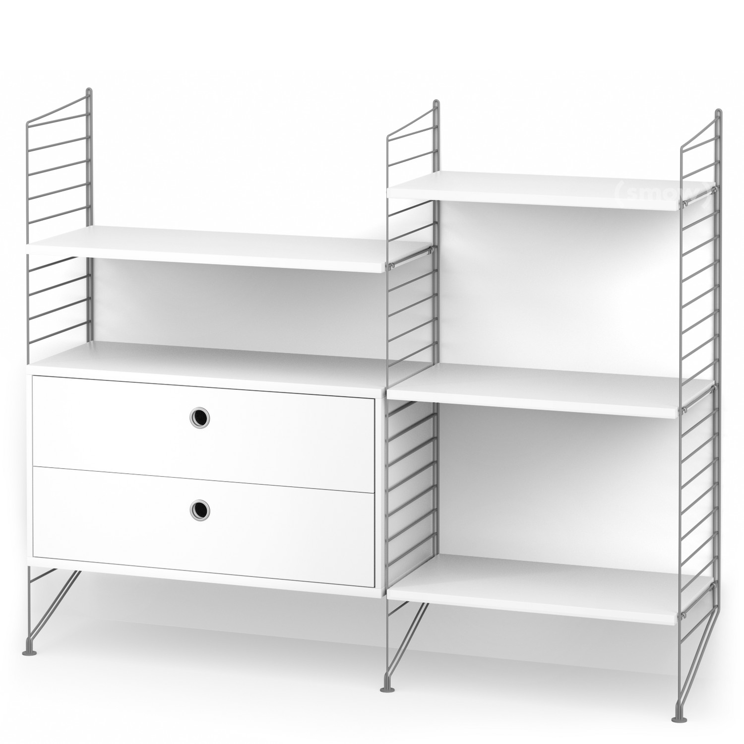 String System Floor Shelf With Drawers Grey|White Lacquered