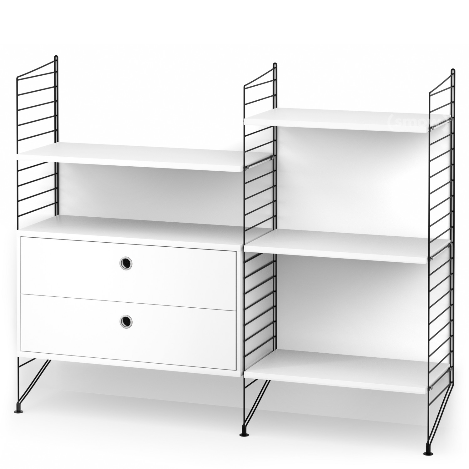 AuBergewohnlich String System Floor Shelf With Drawers Black|White Lacquered