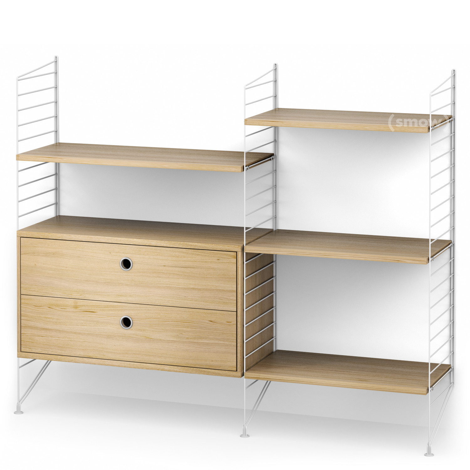 String System Floor Shelf With Drawers White|Oak Veneer