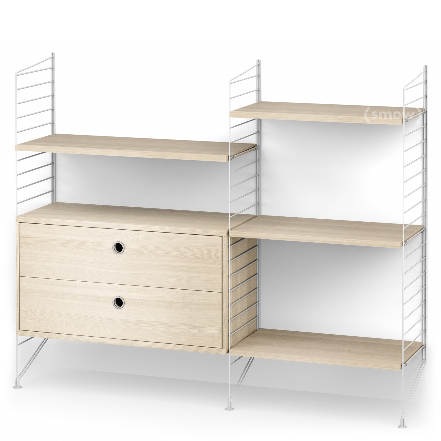 String System Floor Shelf With Drawers White|Ash Veneer