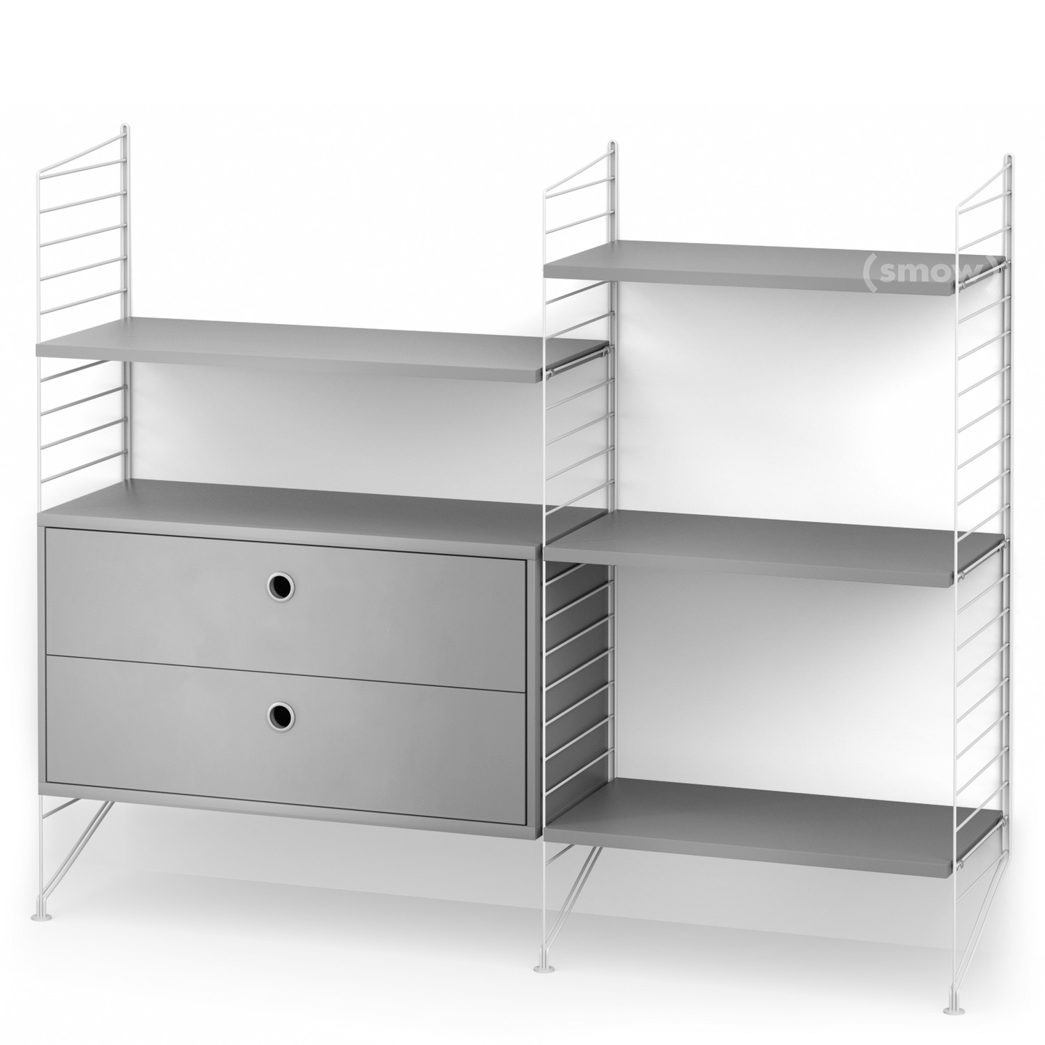String System Floor Shelf with Drawers White Grey lacquered by