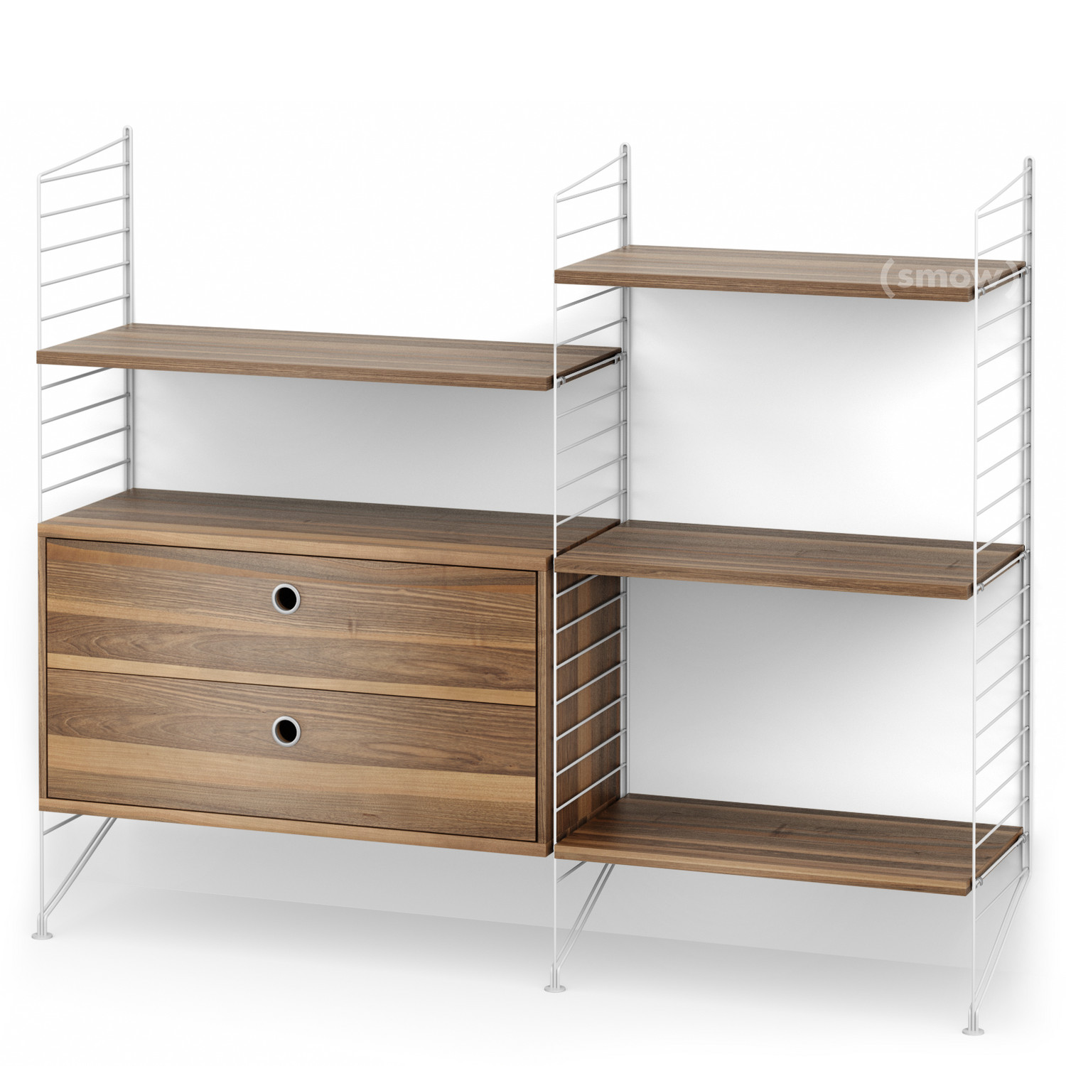 String System Floor Shelf with Drawers White Walnut veneer by