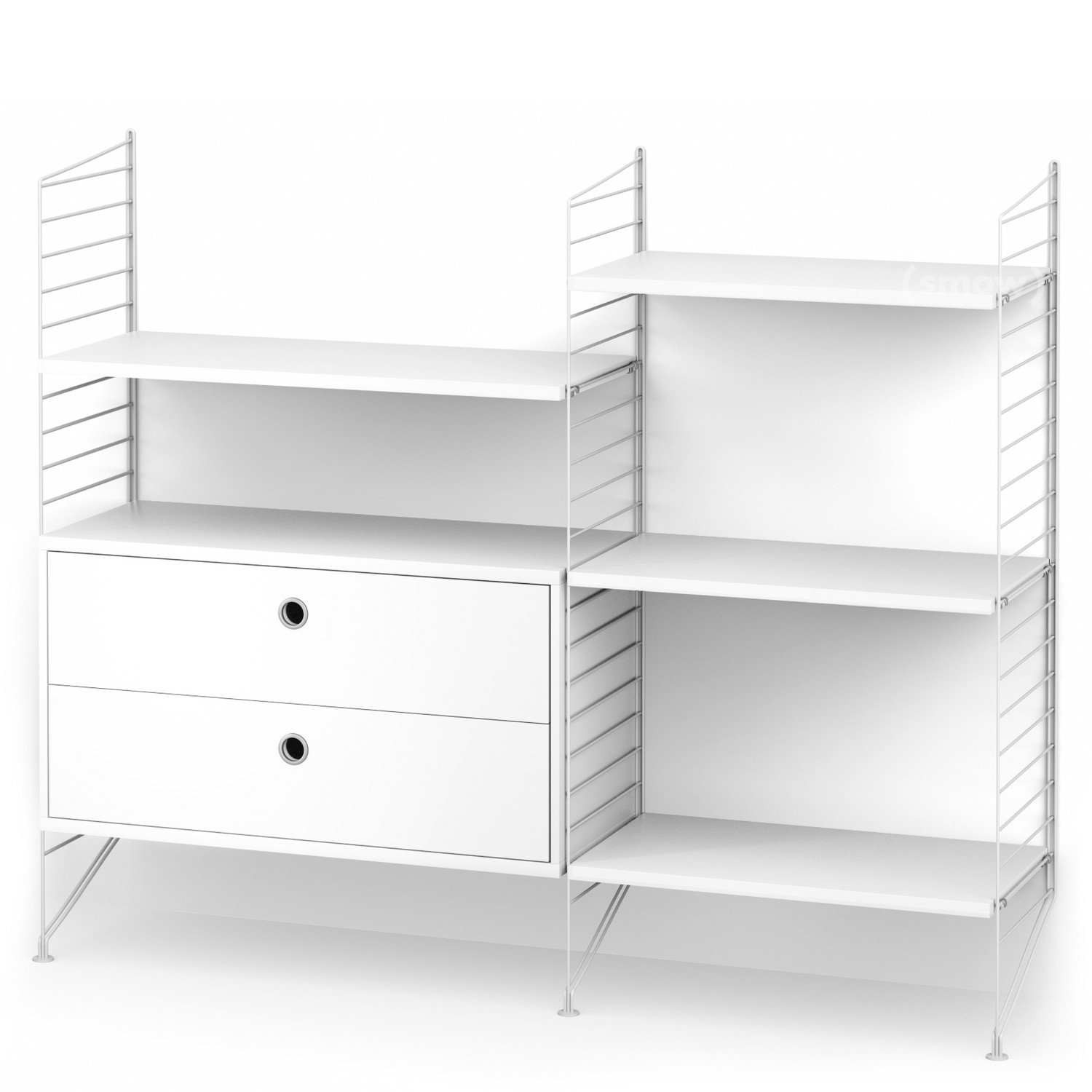 String System Floor Shelf With Drawers White|White Lacquered
