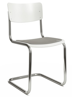 S 43 Classic Chrome-plated frame|Lacquered beech|Pure white (RAL 9010)|Seat pad with upholstery light grey melange