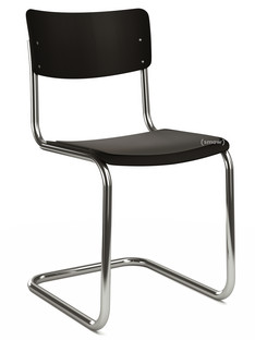 S 43 Classic Chrome-plated frame|Lacquered beech|Deep black (RAL 9005)|Seat pad without upholstery black