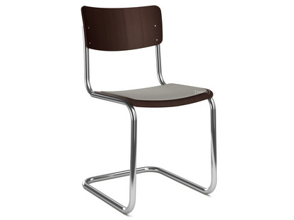 S 43 Classic Chrome-plated frame|Stained beech|Dark brown (TP 89)|Seat pad without upholstery light grey melange