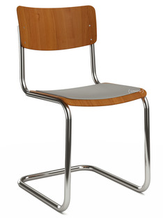 S 43 Classic Chrome-plated frame|Stained beech|Cherry tree|Seat pad without upholstery light grey melange