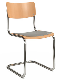 S 43 Classic Chrome-plated frame|Stained beech|Natural beech (TP 17)|Seat pad without upholstery light grey melange