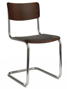 S 43 Classic Chrome-plated frame|Stained beech|Walnut (TP 24)|Seat pad with upholstery black