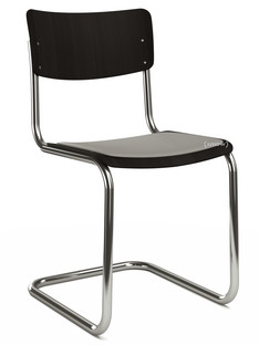 S 43 Classic Chrome-plated frame|Stained beech|Black (TP 29)|Seat pad with upholstery light grey melange