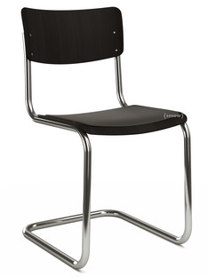 S 43 Classic Chrome-plated frame|Stained beech|Black (TP 29)|Seat pad without upholstery black