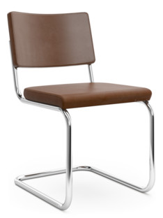 S 32 PV / S 64 PV Pure Materials Nappa Leather mid-brown|Chrome-plated|Walnut|Without armrests