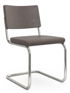 S 32 PV / S 64 PV Pure Materials Nubuck Leather dark brown|Nickel plated|Oak|Without armrests