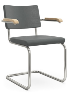 S 32 PV / S 64 PV Pure Materials Nubuck Leather green-grey|Nickel plated|Oak|With armrests