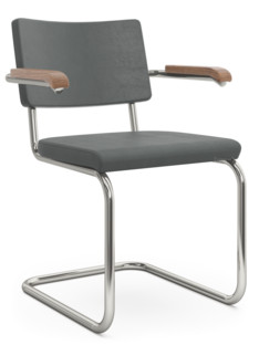 S 32 PV / S 64 PV Pure Materials Nubuck Leather green-grey|Nickel plated|Walnut|With armrests