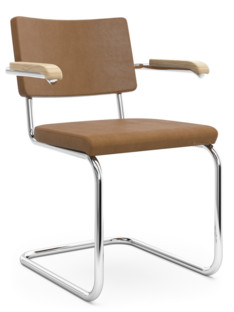 S 32 PV / S 64 PV Pure Materials Nubuck Leather ochre-brown|Chrome-plated|Oak|With armrests