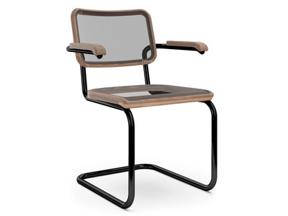 S 32 N / S 64 N Pure Materials Oiled Walnut|Deep Black (RAL 9005)|With armrests