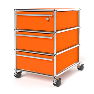 USM Haller Mobile Pedestal with 3 Drawers Type I (with Counterbalance) Top drawer with lock|Pure orange RAL 2004