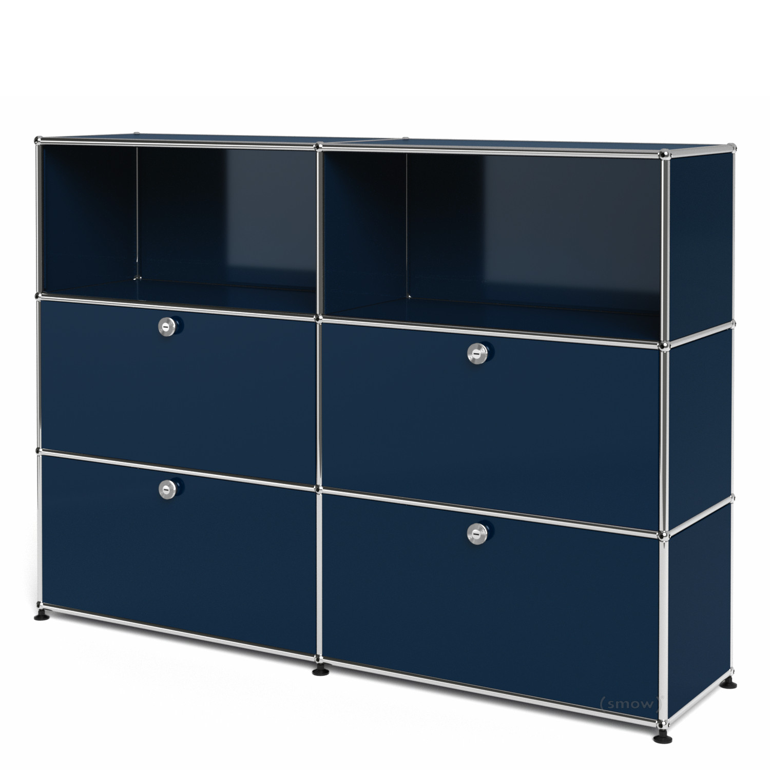 usm haller highboard l with 4 drop down doors steel blue ral 5011 by fritz haller paul. Black Bedroom Furniture Sets. Home Design Ideas