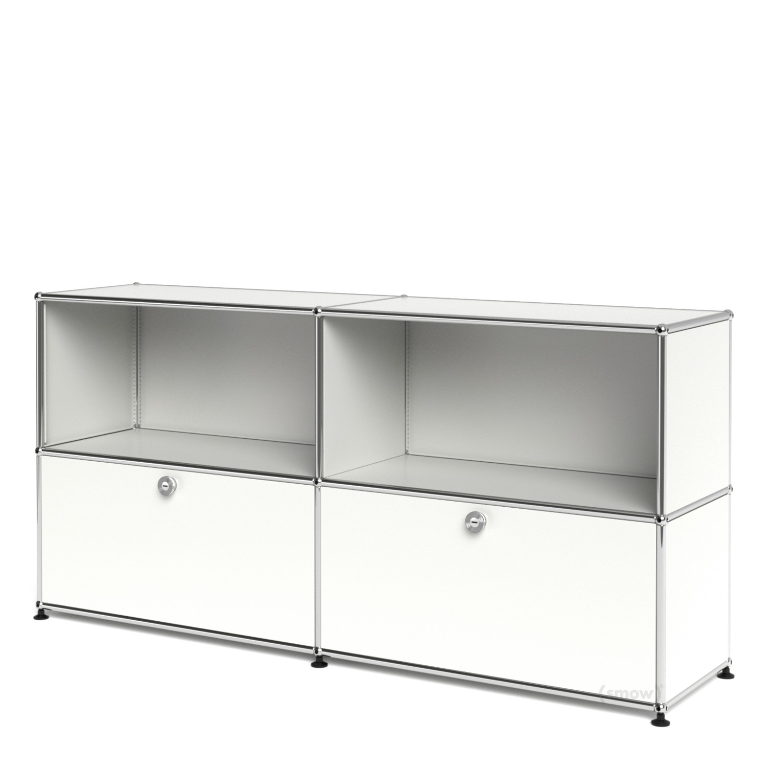 usm haller sideboard l with 2 drop down doors pure white ral 9010 by fritz haller paul. Black Bedroom Furniture Sets. Home Design Ideas
