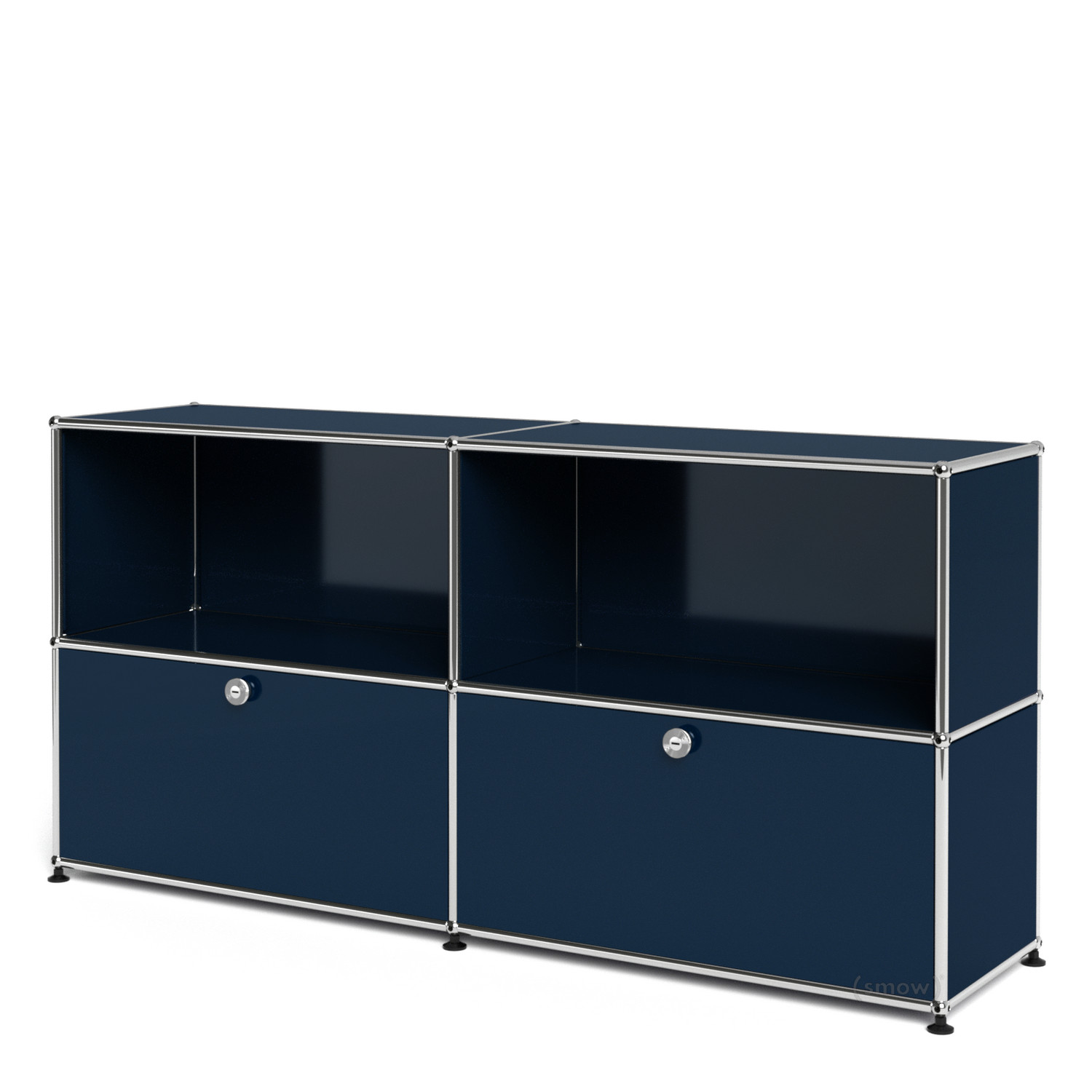 usm haller sideboard l with 2 drop down doors steel blue ral 5011 by fritz haller paul. Black Bedroom Furniture Sets. Home Design Ideas