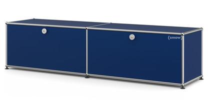 USM Haller Lowboard L with 2 Drop-down Doors Steel blue RAL 5011