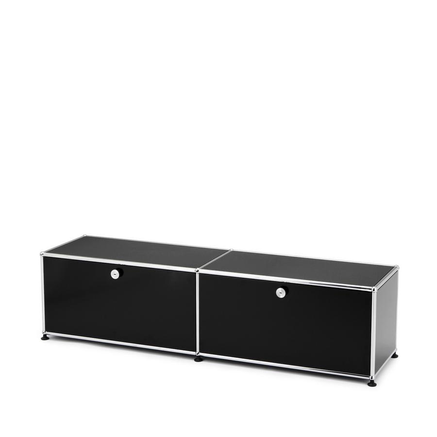 Usm haller lowboard l with 2 drop down doors steel blue for Usm haller sideboard weiay
