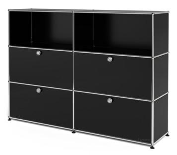 USM Haller Highboard L, Customisable Graphite black RAL 9011|Open|With 2 drop-down doors|With 2 drop-down doors