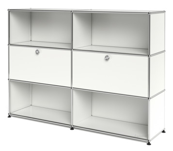 USM Haller Highboard L, Customisable Pure white RAL 9010|Open|With 2 drop-down doors|Open