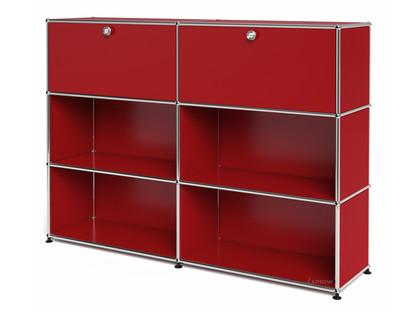 USM Haller Highboard L, Customisable USM ruby red|With 2 drop-down doors|Open|Open