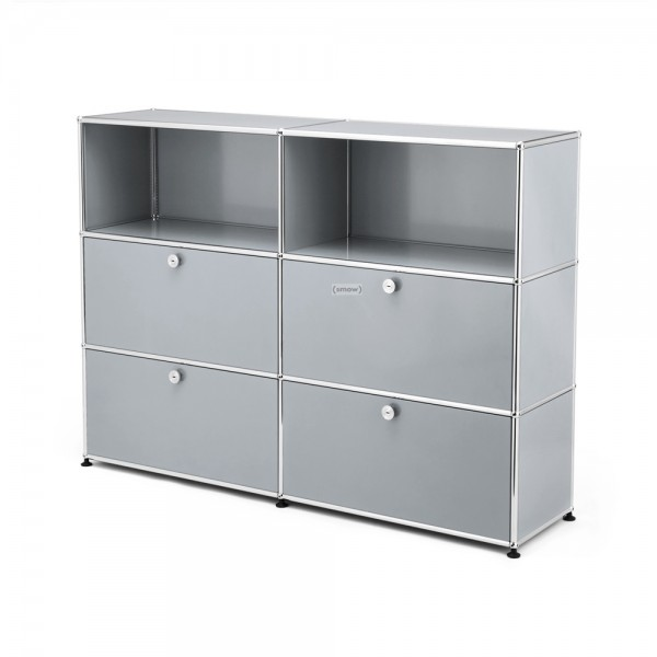 usm haller highboard l customisable usm matte silver open open open by fritz haller paul. Black Bedroom Furniture Sets. Home Design Ideas