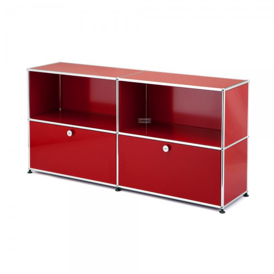 usm haller sideboard l customisable usm ruby red open open by fritz haller paul sch rer. Black Bedroom Furniture Sets. Home Design Ideas