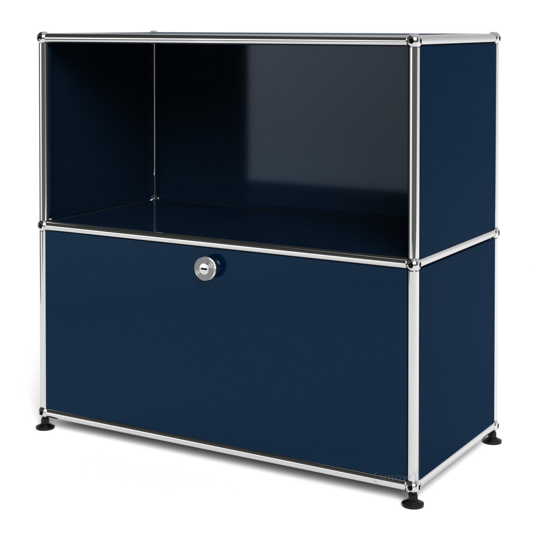 usm haller sideboard m customisable steel blue ral 5011 open with extension door by fritz. Black Bedroom Furniture Sets. Home Design Ideas
