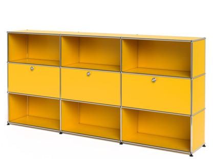 USM Haller Highboard XL, Customisable Golden yellow RAL 1004 Open With 3 drop-down doors Open