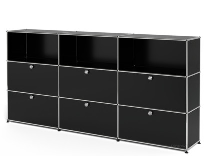 USM Haller Highboard XL, Customisable Graphite black RAL 9011|Open|With 3 drop-down doors|With 3 extension doors