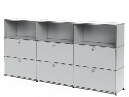 USM Haller Highboard XL, Customisable Light grey RAL 7035|Open|With 3 drop-down doors|With 3 drop-down doors