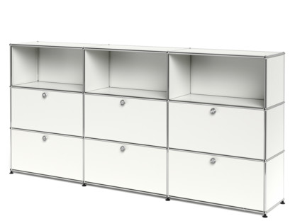 USM Haller Highboard XL, Customisable Pure white RAL 9010|Open|With 3 drop-down doors|With 3 drop-down doors