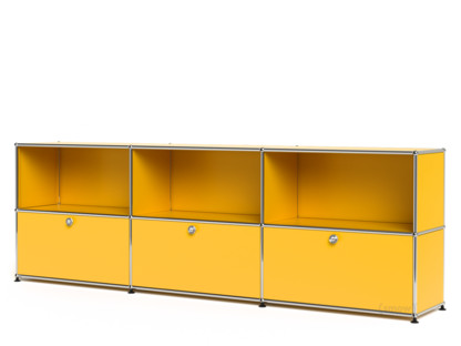 USM Haller Sideboard XL, Customisable Golden yellow RAL 1004|Open|With 3 drop-down doors