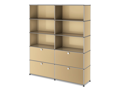 USM Haller Storage Unit L, Customisable USM beige|Open|Open|With 2 drop-down doors|With 2 extension doors