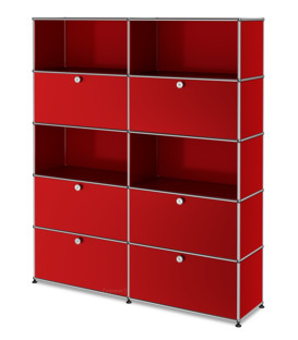 USM Haller Storage Unit L, Customisable USM ruby red|With 2 drop-down doors|Open|With 2 drop-down doors|With 2 extension doors