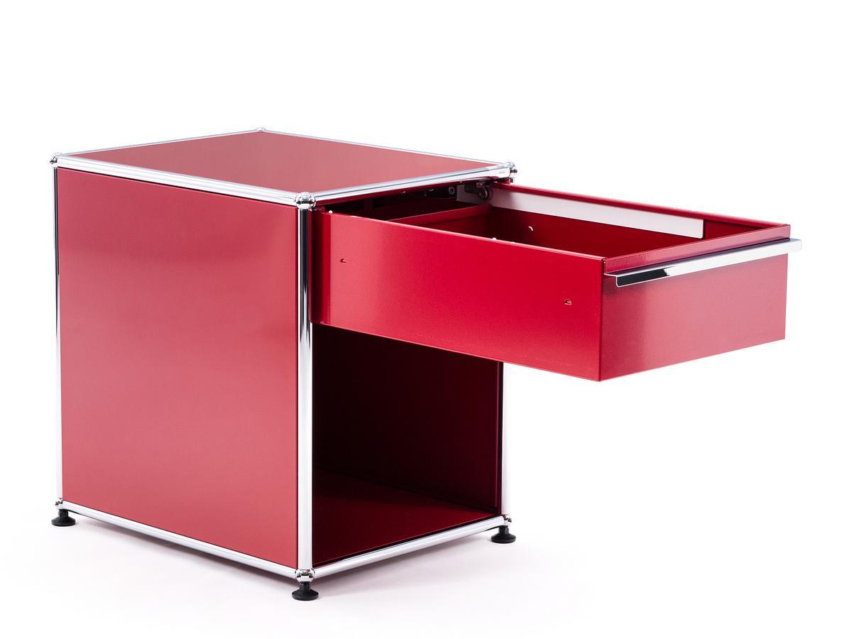 usm haller bedside table with drawer usm matte silver. Black Bedroom Furniture Sets. Home Design Ideas