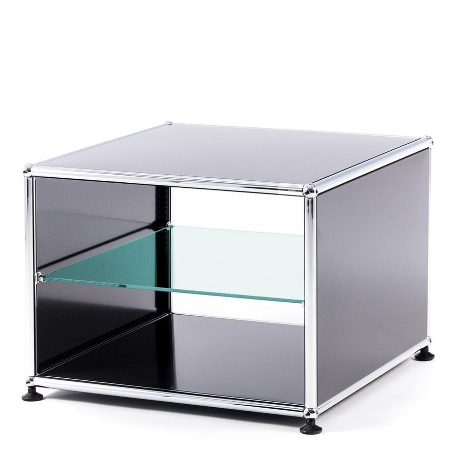 Usm Haller Side Table With Side Panels 50 Cm Without Interior Glass Panel Anthracite Ral 7016