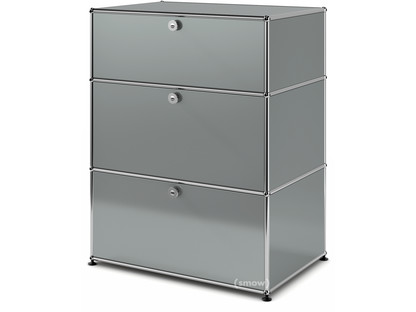 USM Haller Storage Unit with 3 Drawers H 95 + 4 x W 75 x D 50 cm|Mid grey RAL 7005