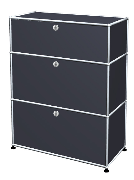 Usm Haller Usm Haller Storage Unit With 3 Drawers H 95 4 X W 75 X D 35 Cm Anthracite Ral 7016
