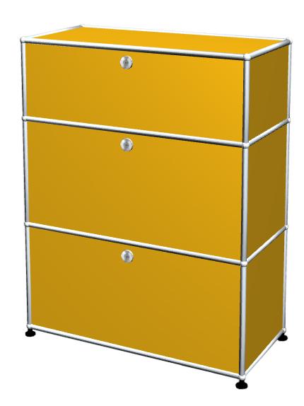 Usm Haller Usm Haller Storage Unit With 3 Drawers H 95 4 X W 75 X D 35 Cm Golden Yellow Ral 1004