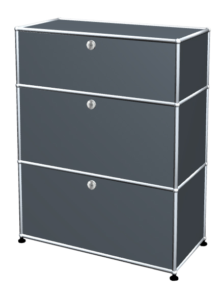 Usm Haller Usm Haller Storage Unit With 3 Drawers H 95 4 X W 75 X D 35 Cm Mid Grey Ral 7005