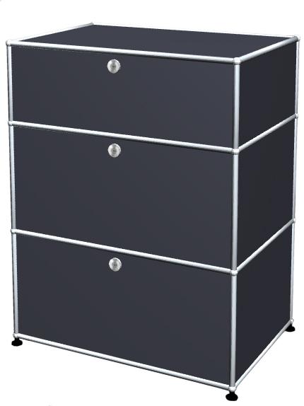 Usm Haller Usm Haller Storage Unit With 3 Drawers H 95 4 X W 75 X D 50 Cm Anthracite Ral 7016