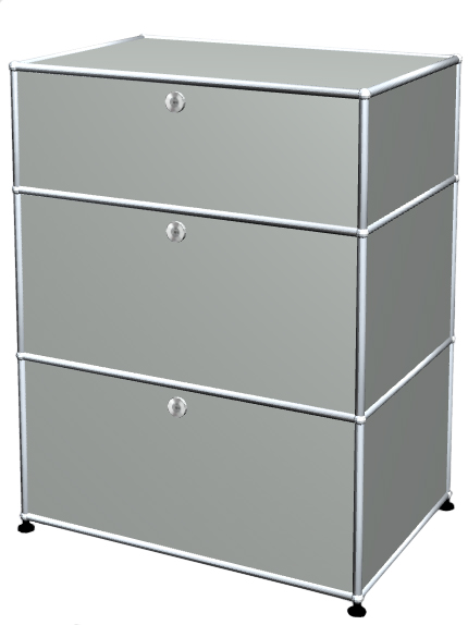 Usm Haller Usm Haller Storage Unit With 3 Drawers H 95 4 X W 75 X D 50 Cm Light Grey Ral 7035